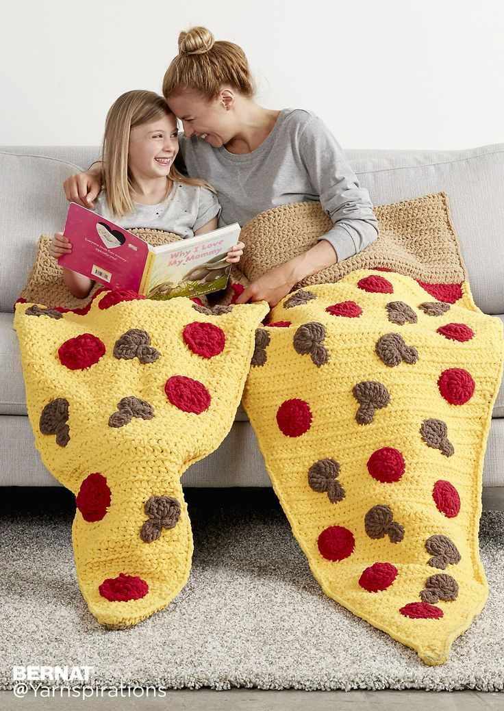 Pizza Party Crochet Snuggle Sack (child and adult) - free Bernat crochet pattern at Yarnspirations.
