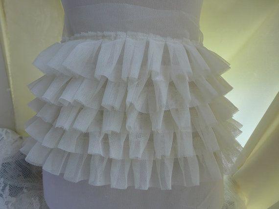 1 yarda pizzo di tulle increspato in avorio per abito da sposa, abito bambola, tutu vestito tessuto da cucire elettrica