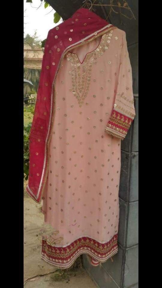 Hand Worked Light Pink Colored Pure Creap Suit With Dupatta