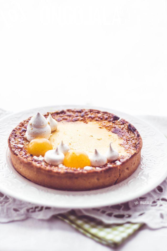 lemon tart with almond brittle base & lemon cream