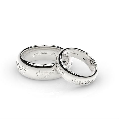 """ELVISH LOVE RING SET in White Gold. The original Movie ring engraved with an Elvish Love Poem, and matching 'little One' version to match. Elvish Love poem translates as """"One ring to show our love, One ring to bind us, One ring to seal our love, And forever to entwine us"""" #JensHansenOneRing"""