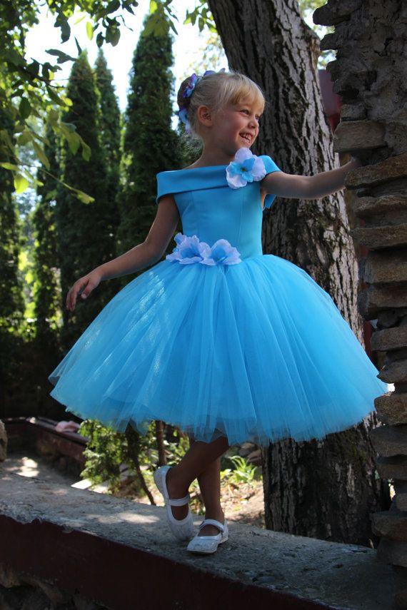 Blue Flower Girl Dress anniversaire mariage par KingdomBoutiqueUA