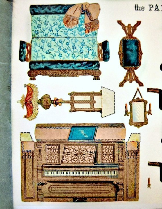 Cut Out Paper Parlor 1892 Furniture Victorian Dollhouse Furniture