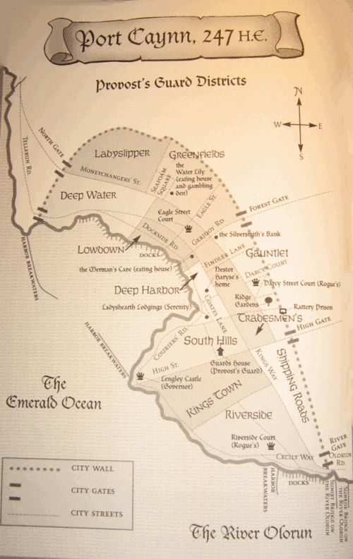 map of Port Caynn from the Beka Cooper trilogy (Tortall universe) by Tamora Pierce