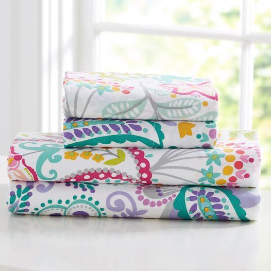 Swirly Paisley Sheet Set, Twin/XL Twin, Pink Multi