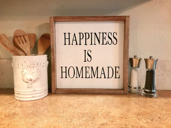 Happiness is Homemade Wood Sign Wooden by SawdustandSunshineCo