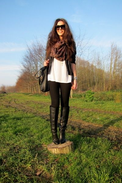 leather jacket, scarf, white shirt, black leggings and BOOTs rm