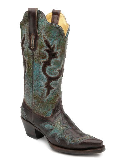 Women's Turquoise Green/Chocolate Patch Boot - R1178