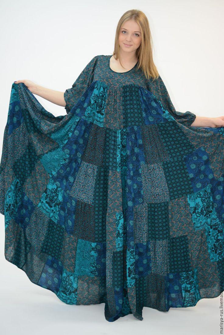 """Купить Лоскутное платье """"Хозяйка медной горы"""" - тёмно-зелёный, изумрудный цвет, изумрудно-зеленый"""