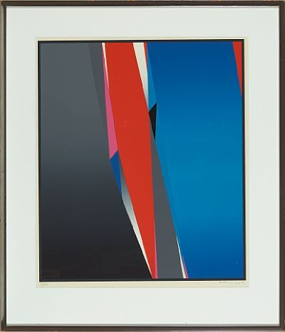 GUNNAR S. GUNDERSEN FORDE 1921 - BÆRUM 1983  Composition in black, red and blue  Fargeserigrafi, 3/150, 57x48 cm  Signed lower right: Gunnar S.