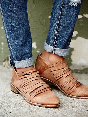 Lost Valley Ankle Boot | Inspired by our very own Hybrid Heel Boot, this Italian leather ankle boot has a strappy body and a stacked heel.  Zip up closure on back.   *By Free People