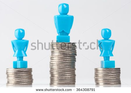 One male and two female figurines standing on piles of coins. Hero look. Income inequality concept.