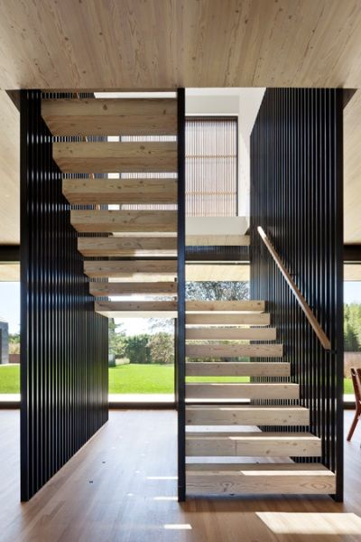 black vertical battens + timber treads | stairs