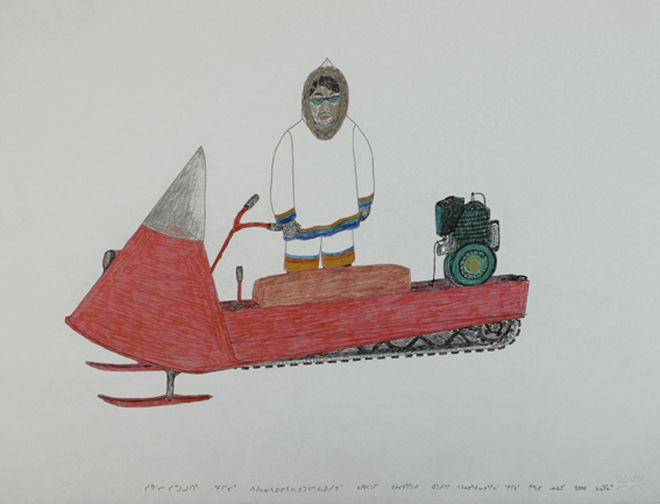 Kananginak Pootoogook at the 57th Venice Biennale  Untiltled (Self-portrait of Kananginak drawing a wolf), 2009. Ink and coloured pencil on paper. 66cm x 50.8cm