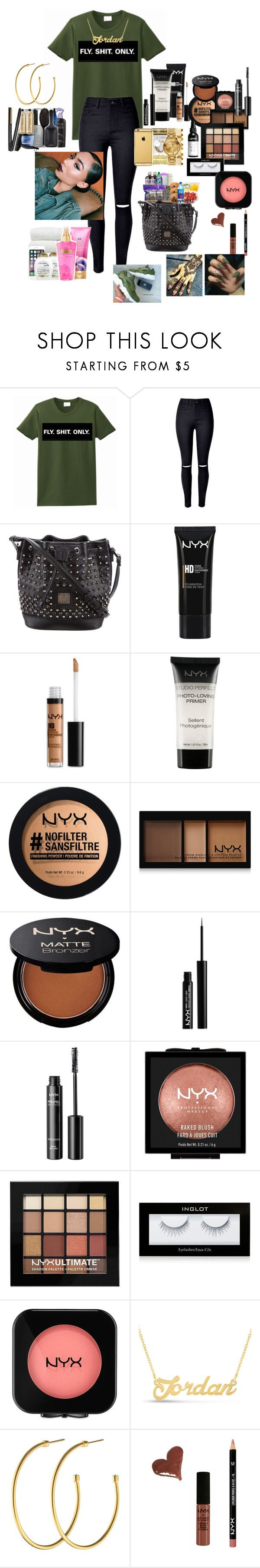 """""""OLIVE AND GOLD"""" by jordanislit ❤ liked on Polyvore featuring WithChic, MCM, NYX, Inglot and Dyrberg/Kern"""