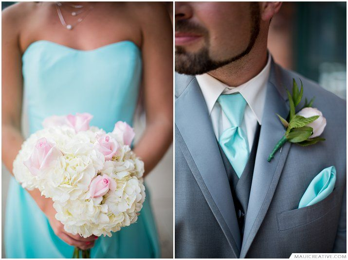 Downtown Wedding, Teal Wedding, Gray Wedding, Bridesmaids Dresses, Bouquets, Sweetheart wedding gown  http://blog.mauicreative.com/amy-brian-kent-ohio-wedding/