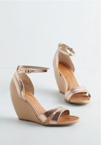 rose gold + nude wedges - could be nice wedding shoes