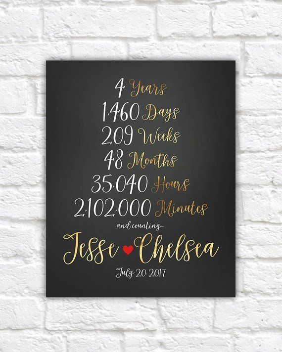 4 Year Anniversary 4th Anniversary Gift Ideas Married For 4 Years Together Gift For Wife Husband Friends Anniversary Party In 2020 Year Anniversary Gifts 4th Anniversary Gifts Boyfriend Anniversary Gifts