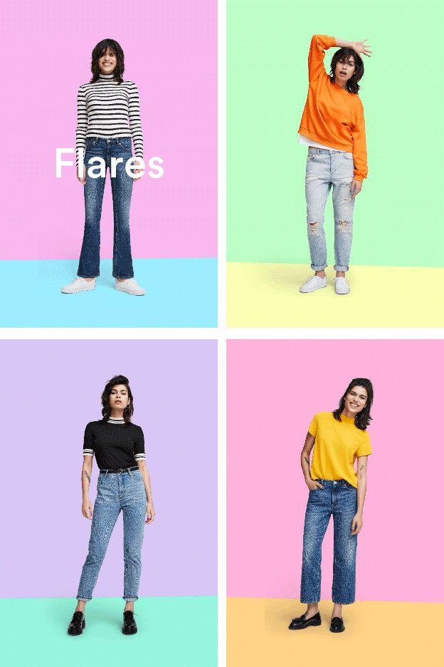 Monki. Bright colours, block fashion animation. Gif design in emails.