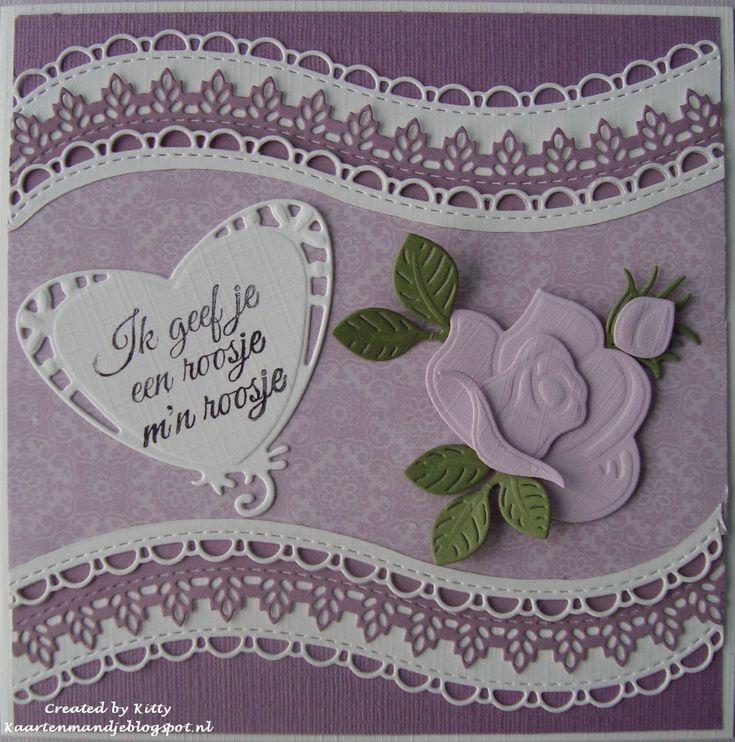 Ik geef je een roosje Hier heb ik gebruikt Paperblock Pk 9132 La Provence, Lr 0395 Border set Wave, Roos lr 0398 Build - a - r...