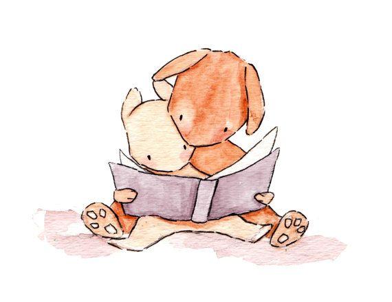 Just Reading 8x10 Bunny Rabbit Nursery Art Print by ohhellodear