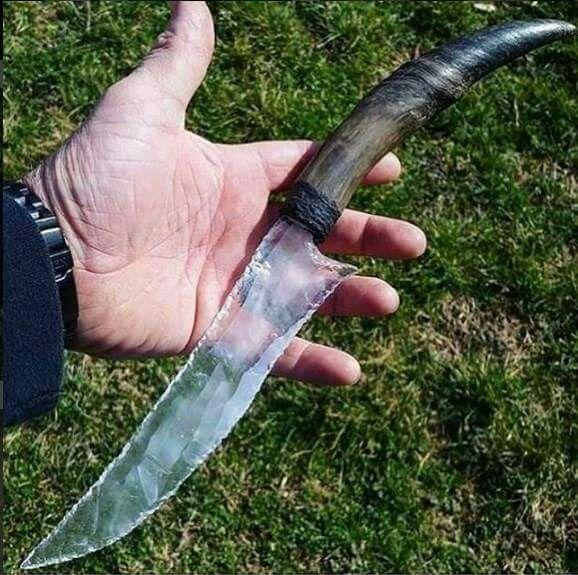 quartz blade antler knife