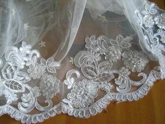 beaded bridal lace trim ivory alencon lace trim by LaceFun on Etsy, $7.99