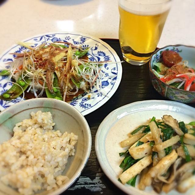 ・めかじきの香味野菜ソースがけ ・長いもとニラ舞茸、松の実のさっと炒め ・めかぶときゅうり、ミニトマトの和え物 ・丸麦入り玄米 - 7件のもぐもぐ - 一週間、お疲れさまでした! by Tomoko