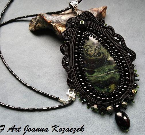 Soutache jaspis pendant - JBF Art