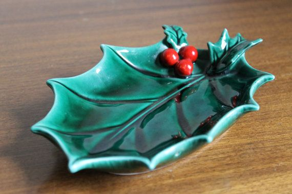 Vintage Christmas Ceramic Holly Leaf and Berries Dish by WolfHouse, $11.00
