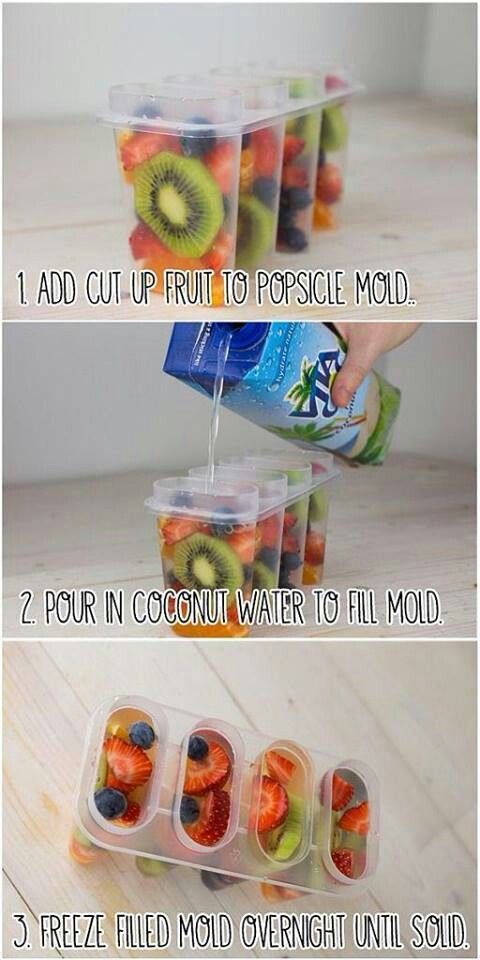 Coconut Water Fruitcicles - i think I'll try this with juice or something else, cause i dont like coconut water but the fruit idea is awesome!!