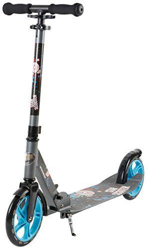 STAR-SCOOTER� XXL City Scooter Extragro� f�r einen sicheren Stand auch auf dem Schulweg ? 205mm Big Foot Deck Edition ? Grau & Blau