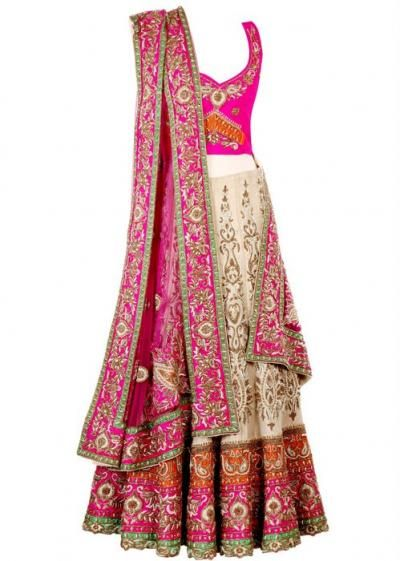 cream and pink lehenga with border, sleeveless, sister of the bride or groom,Frontier Raas-Bridal Wear