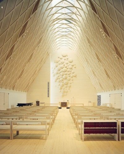 The interior is beautiful!  Kuokkala Church in Jyväskyla, Finland - Lassila Hirvilammi Architects