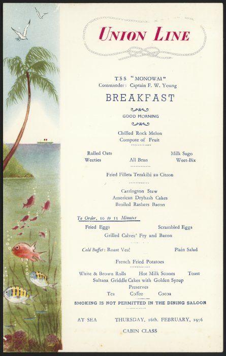 "1956 menu from T.S.S. ""Monowai,"" Union Steam Ship Company of New Zealand"