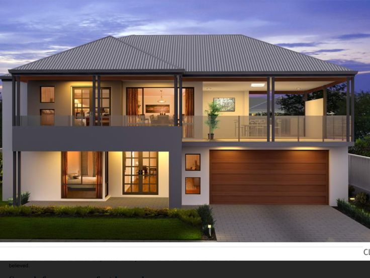 Two storey facade, grey roof, balcony over garage, glass railing