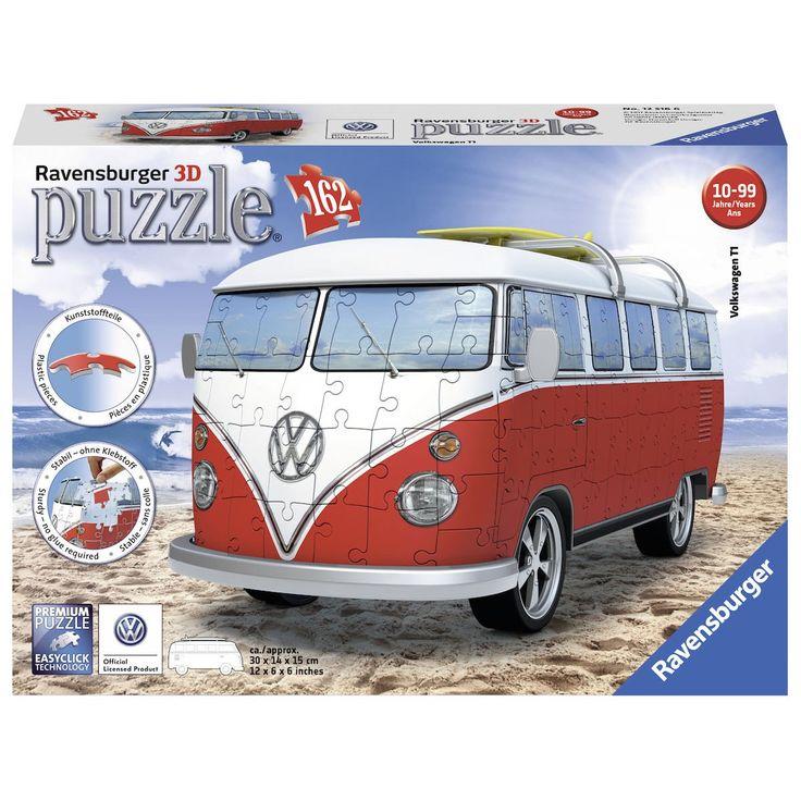 Waan je een echte surfer met deze 3D puzzel van een Volkswagen Bus van Ravensburger. Klik de 162 genummerde puzzelstukjes van stevig kunststof aan elkaar om de bus van 30 x 14 x 15 cm vorm te geven en bekroon de bus met echt draaiende wielen en de andere accessoires. Inclusief handleiding.Afmeting:  verpakking 31 x 22 6,5 cm - Ravensburger 3D Puzzel - Volkswagen Bus