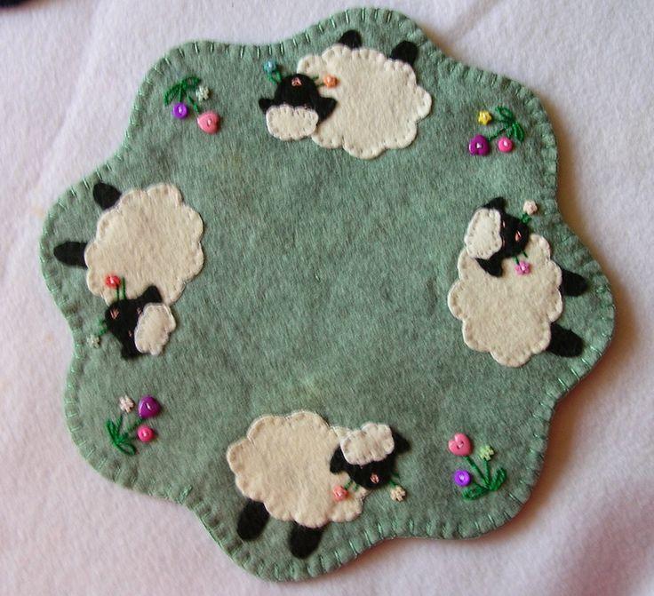 Candle mat or mug rug with spring sheep!