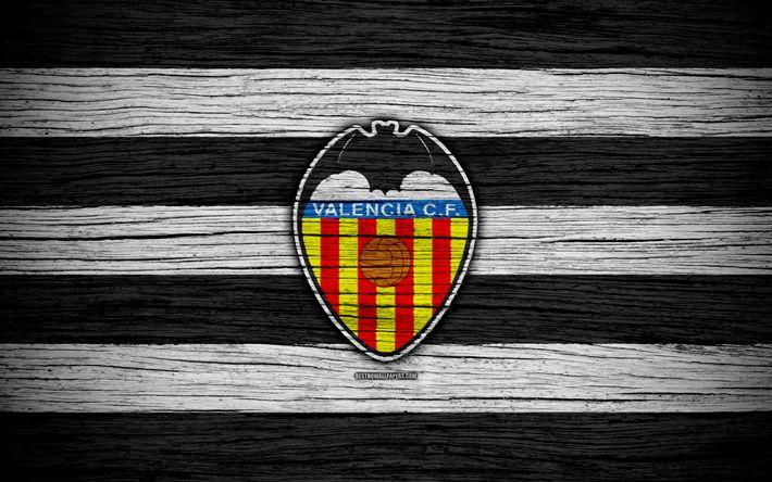 Download wallpapers FC Valencia, 4k, Spain, LaLiga, wooden texture, soccer, Valencia, football club, La Liga, Valencia FC