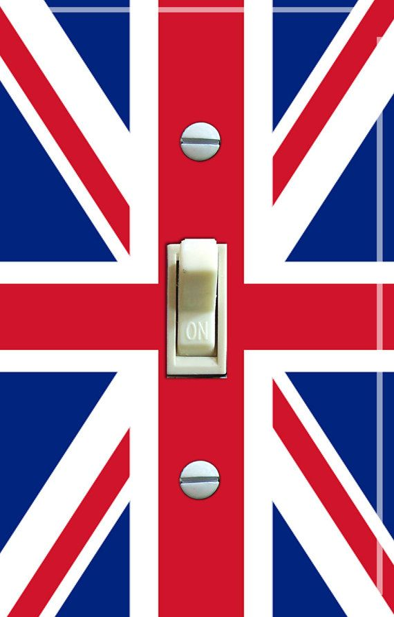 BRITISH Flag Switch Plate single or double by VintageSwitchPlates