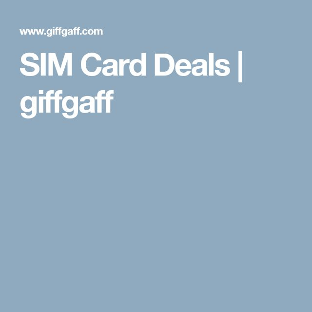 SIM Card Deals | giffgaff