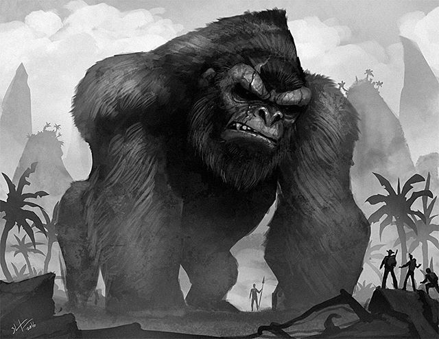 I wanted to bust out a King Kong fan art piece. Who else is excited about the new King Kong movie? I know I am!! #kingkong #kong #kongskullisland #gorilla #conceptart #illustration #instagood #digitalart #art #artistsoninstagram #skullisland #draw #painting #instaart #animals #moviemonsters #artwork