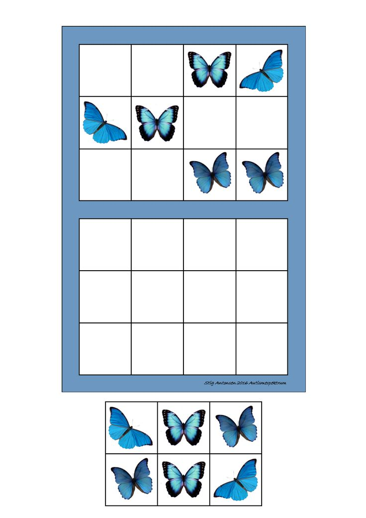 Laminate and cut out the tiles. You can add hook and loop tape. Let the student copy the way the pictures are placed in the upper frame. By Autismespektrum