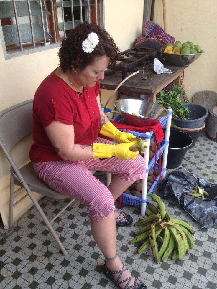 "Peeling plantain's in ""the kitchen"""