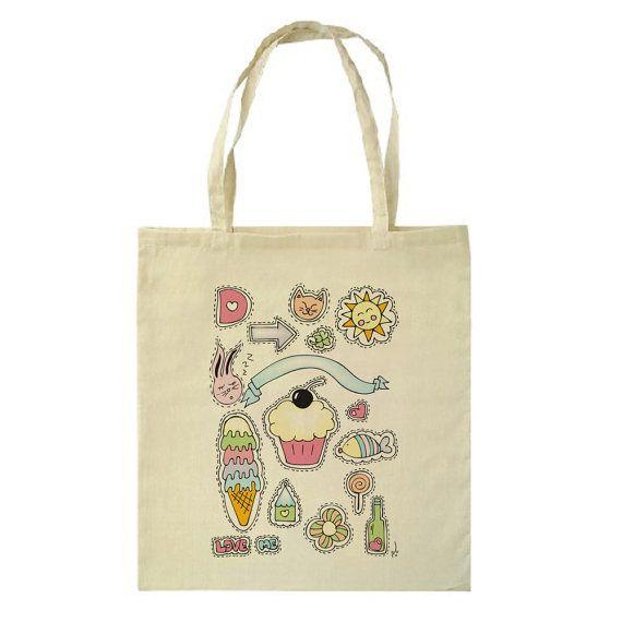 Really Cute Kawaii Tote Bag by HappyMarker on Etsy