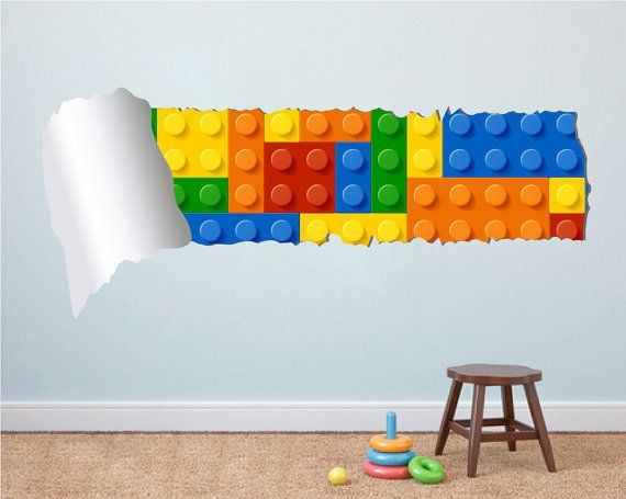 Building Blocks Torn on Wall  Bricks on Wall  by homeartstickers