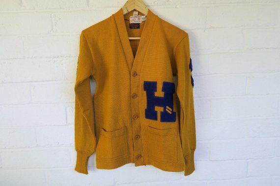 5e57c7210 DEADSTOCK 1940s Wilson Letter Sweater / Vintage Yellow Varsity Sweater