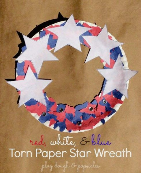 Ripped Paper Star Wreath. Red White & Blue. Kid Craft & Decoration for Memorial Day, Fourth of July, or Labor Day. Patriotic Craft for Kids.