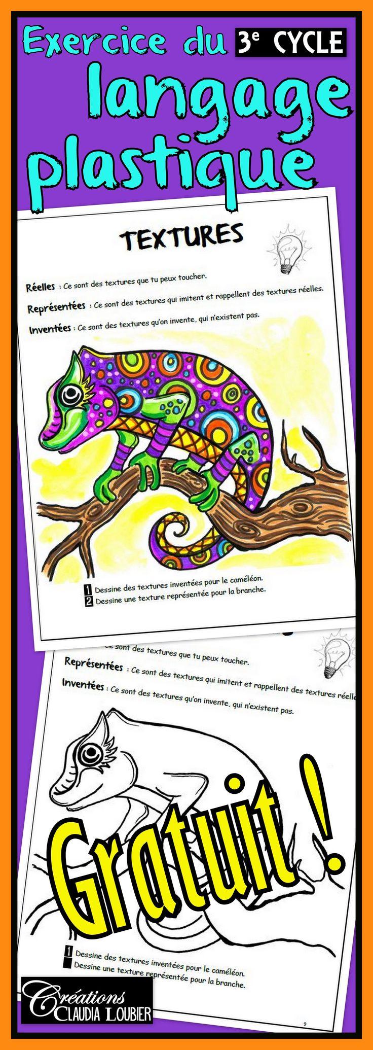 Il me fait plaisir de vous offrir cet exercice du langage plastique pour le 3e cycle.Travailler les textures représentées et réelles en complétant le caméléon. Consignes simples et faciles à suivre. Cet exercice fait partie d'un ensemble de 14 exercices visant à travailler la totalité des notions à voir au troisième cycle du primaire en arts plastiques.