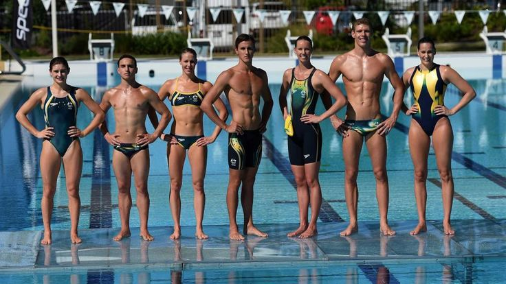 Members of the Australian Olympics swimming team pose with their newly unveiled Rio Olympic Games swimwear